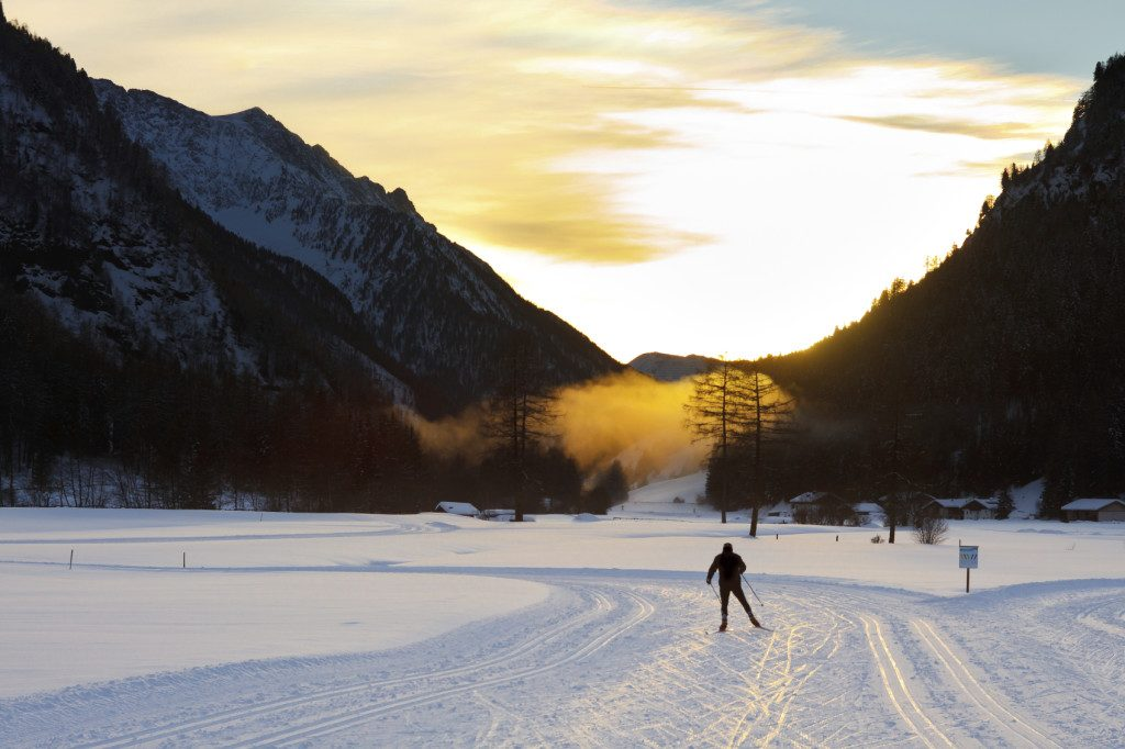 Cross-Country Skiing at Sunset
